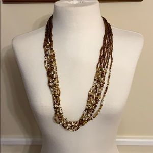 Jewelry - Copper and White Beaded Statement Necklace